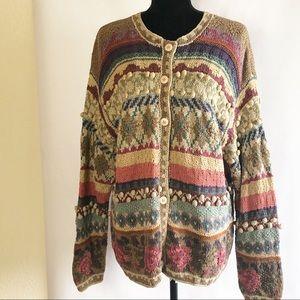 Vintage Hand Knitted Silk/Cotton Cardigan Retro